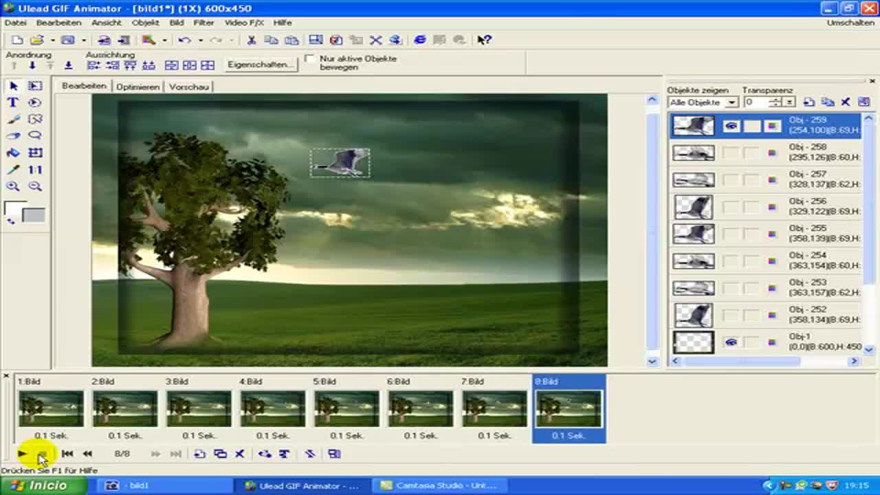 PhotoImpact - Ulead Gif Animator Tutorial animierter Vogel im Bild 2