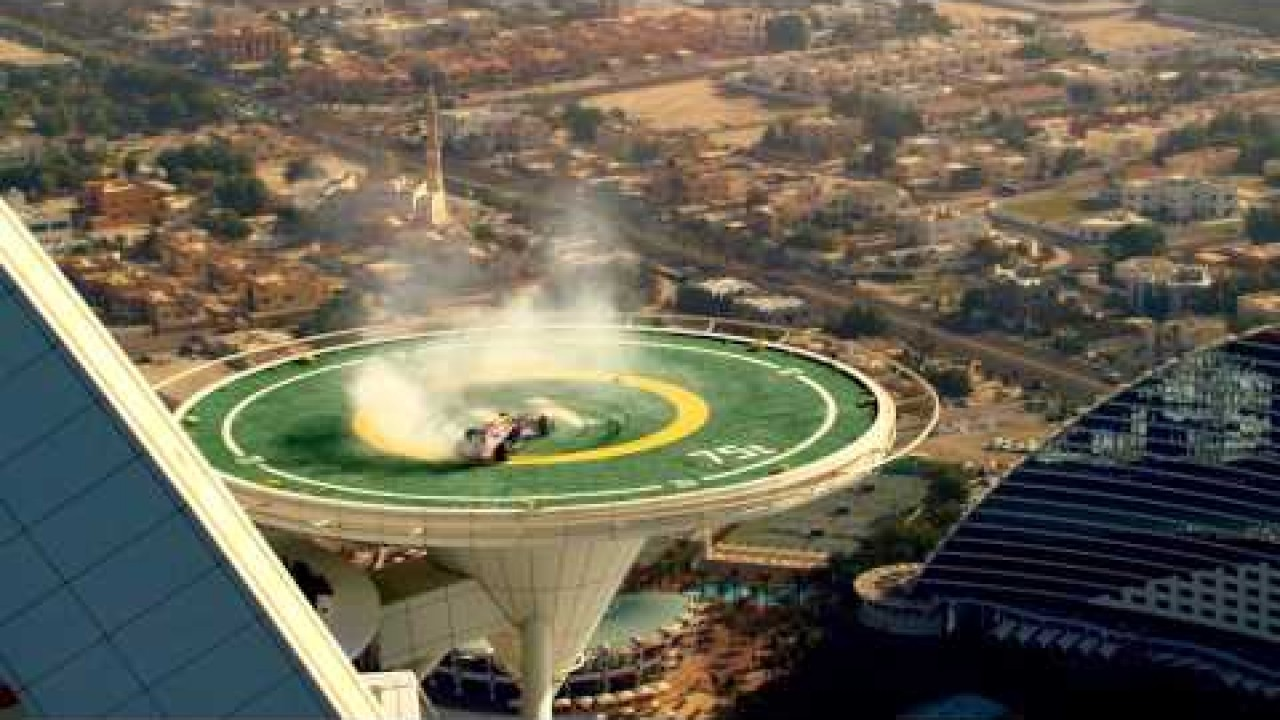 Red Bull Racing F1 Stunt on Burj Al Arab Helipad (Official Video)