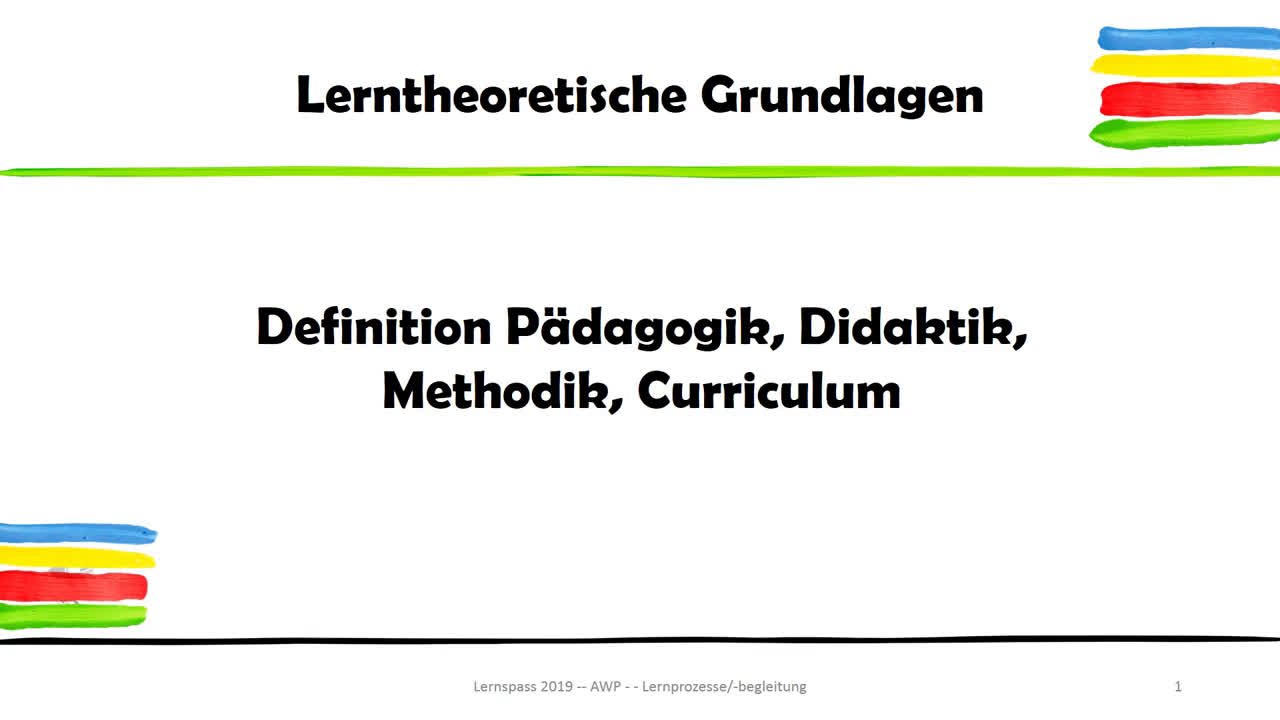 Definition Pädagogik, Didaktik, Methodik und Curriculum