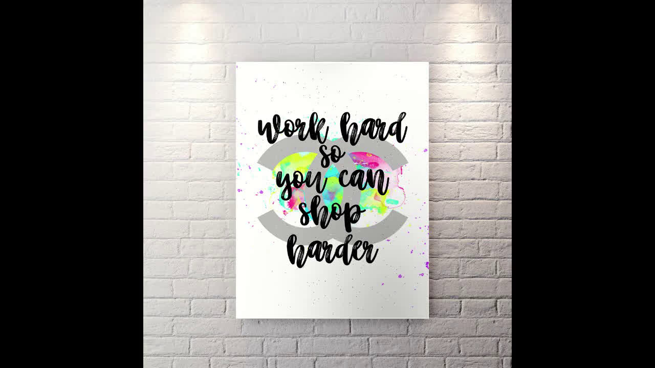 Work Hard Shop Harder - Motivational Canvas Wall Art
